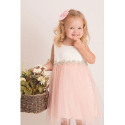 Satin and tulle dress with...